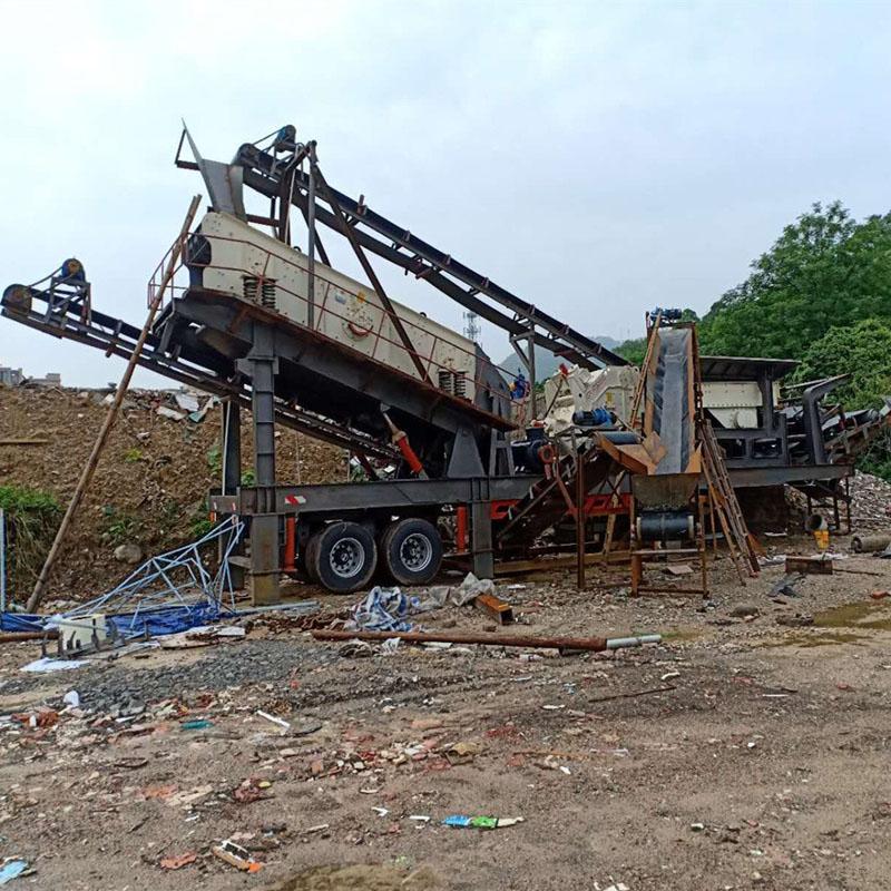 时产150吨移动破碎站 移动式河卵石破碎机厂家